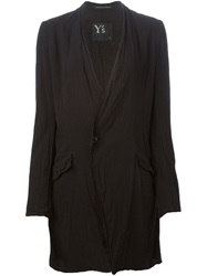 Y's Collarless Long Blazer Black