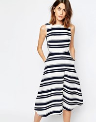 Warehouse Stripe Midi Dress Navy And White Multi