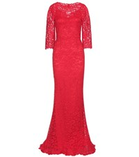 Dolce And Gabbana Cotton Blend Lace Gown Red