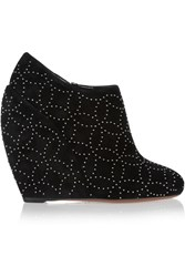 Alaia Studded Suede Wedge Ankle Boots Black