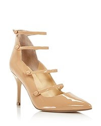 Ivanka Trump Dritz Patent Leather Strappy Pointed Toe Mary Jane Pumps 100 Bloomingdale's Exclusive Natural