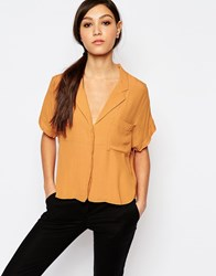 Neon Rose Crop Box Blouse Mustard Yellow