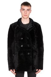 Blk Dnm Double Breasted Shearling Leather Coat 9 With Dyed Merino Lamb Fur Black