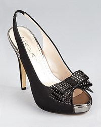Caparros Slingbacks Betsey Bow Black Satin