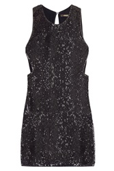 Roberto Cavalli Sequin Silk Cocktail Dress Black