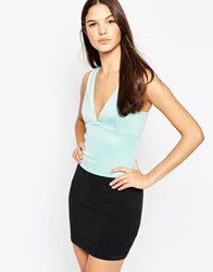 Ax Paris Plunge Neck Crop Top Aqua Blue