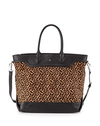 Ash Smith Leopard Print Calf Hair And Leather Tote Bag Black Camel