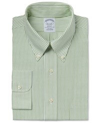 Brooks Brothers Men's Regent Classic Fit Non Iron Green Stripe Dress Shirt