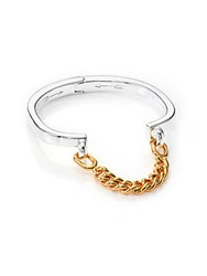 Giles And Brother Stirrup Two Tone Chain Cuff Bracelet Silver Gold