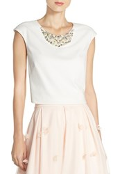 Eliza J Women's Embellished Crop Top Ivory