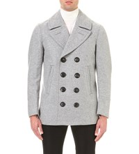 Burberry Double Breasted Wool Peacoat Pale Grey Melange