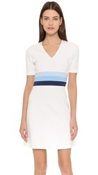 Lisa Perry Stripe Waist Dress White Powder Blue Placid