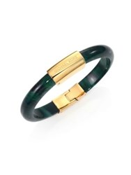 Michael Kors Logo Plaque Bangle Gold Green