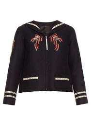 Marc Jacobs Embellished Wool And Silk Blend Jacket Navy