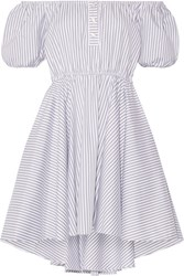 Caroline Constas Bardot Off The Shoulder Striped Cotton Mini Dress Gray