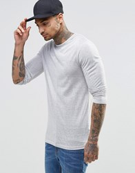 Asos Sheer Knit Longline Muscle Long Sleeve T Shirt Gray
