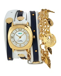 La Mer Leather Wrap Charm Watch White Navy Shimmer