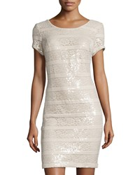 Donna Ricco Sequin Stripe Sheath Dress Nude