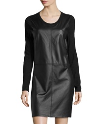 Neiman Marcus Cashmere Blend Leather Front Sweaterdress Tuxedo
