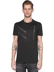 Dsquared Zip Details And Printed Jersey T Shirt