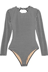 Fleur Du Mal Striped Open Back Swimsuit Black