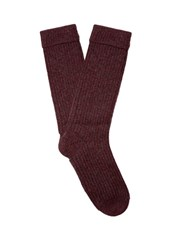 Pepper And Mayne Ribbed Knit Cashmere Socks Burgundy