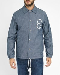 Edwin Grey Chambray Bomber Jacket With White Embroidered Logo And Coach Snap Fasteners