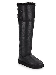 Ugg Devandra Convertible Shearling Lined Leather Over The Knee Boots Black