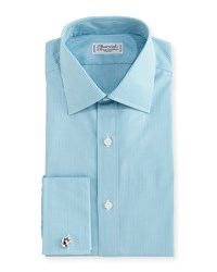 Charvet Check French Cuff Dress Shirt Aqua