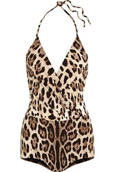 Dolce And Gabbana Leopard Print Halterneck Swimsuit
