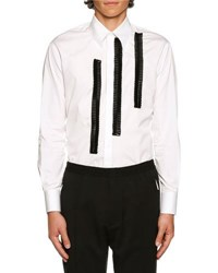 Dsquared Contrast Ruched Trim Woven Shirt White