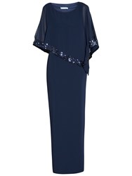 Gina Bacconi Crepe Maxi Dress And Sequin Band Chiffon Cape Spring Navy