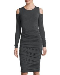 Bailey 44 Ruched Jersey Cold Shoulder Dress Charcoal