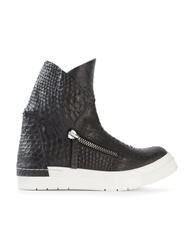 Cinzia Araia Snakeskin Effect Hi Top Sneakers Black