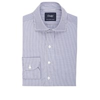 Drakes Striped Dress Shirt Navy