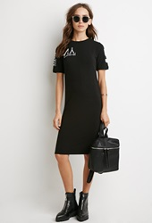 Forever 21 N.Y. Graphic T Shirt Dress Black White