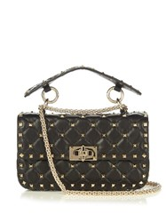 Valentino Rockstud Mini Quilted Leather Cross Body Bag Black