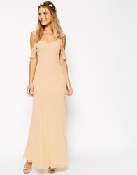Asos Wedding Bias Cut Maxi Dress With Seams And Frill Sleeves Cream