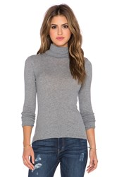 Enza Costa Cashmere Long Sleeve Fitted Turtleneck Gray