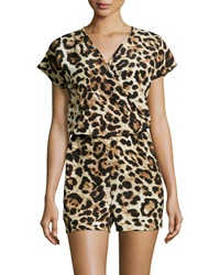 Romeo And Juliet Couture Leopard Print Short Sleeve Romper