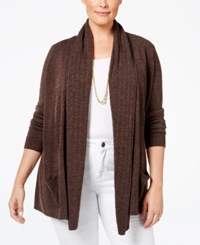Karen Scott Cable Knit Pocket Cardigan Only At Macy's Peppercorn Heather