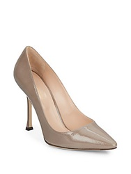 Sergio Rossi Patent Leather Point Toe Pumps Grey