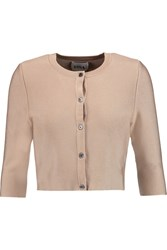 Issa Mills Cropped Stretch Knit Cardigan Nude