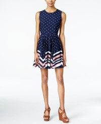 Maison Jules Mixed Print Fit And Flare Dress Only At Macy's Blu Notte Combo
