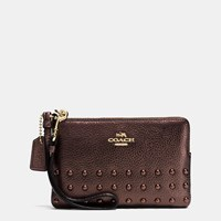 Coach Corner Zip Wristlet In Lacquer Rivets Pebble Leather Light Gold Bronze