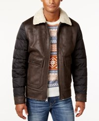 Buffalo David Bitton Men's Big And Tall Faux Leather Bomber Jacket Dark Brown