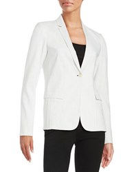Elie Tahari Striped One Button Blazer White