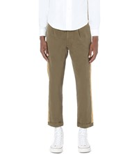 Palm Angels Contrast Trim Cotton Trousers Military Green