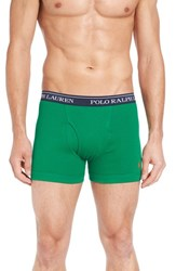 Polo Ralph Lauren Men's Cotton Boxer Briefs Bask Orange Wexford Green