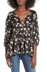 Lucca Couture Women's Floral Print Lace Up Blouse